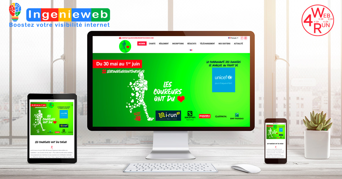 site internet les coureurs ont du coeur - solution Web4run par Ingenieweb